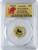 2018 P $15 AUSTRALIA YEAR OF THE DOG 1/10 OZ. GOLD COIN PCGS
