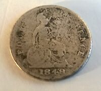1848 VICTORIA SILVER FOUR PENCE COIN   GROAT