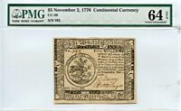 NOVEMBER 2 1776 $5 CONTINENTAL CURRENCY PMG MS64 EPQ [392]