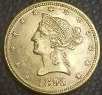 1893 US $10 GOLD EAGLE   LIBERTY HEAD 10 DOLLAR COIN  IN AU  CONDITION  [AK3927]