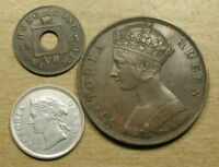 HONG KONG 1863 1 MIL 1876 ONE CENT AND 1873 5 CENTS