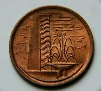 SINGAPORE 1976 1 CENT COIN WITH RED/BROWN LUSTRE & HIGH RISE APARTMENT BUILDING