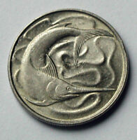SINGAPORE 1982 20 CENTS COIN WITH TONED LUSTRE & SWORD FISH OCEAN ANIMAL