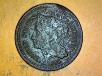 1865 THREE CENT  COPPER NICKEL NICE COIN