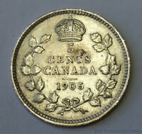 BETTER DATE 1905 CANADA 5 FIVE CENT .925 SILVER COIN