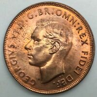 AUSTRALIA  1952 RED UNC 1 PENNY GEORGE VI WONDERFUL TONED HIGH END  COIN