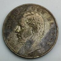 GERMAN STATES BAVARIA 1908 D 5 MARK SILVER CIRCULATED TONED NICE COIN