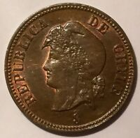 1898 9 OVER 9  2 1/2 CENTAVOS CHILE LUSTROUS  THUS SOME RED