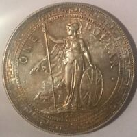 1908   B  GREAT BRITAIN TRADE DOLLAR SILVER COIN EXCELLENT  LOVELY  TONE LUSTRE
