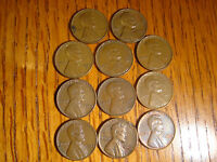 3-1941, 1-1945, 1-1947, 2-1954, 2-1956, 1-1957, 1-1958 WHEAT PENNIES LOT OF 11