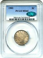 1903 5C PCGS/CAC MINT STATE 66 - LIBERTY V NICKEL