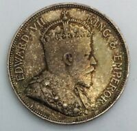 1907 STRAITS SETTLEMENTS 50 CENTS EDWARD VII  SILVER NICE TONE COIN  KM24