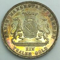 1871 BREMEN VICTORY THALER  SILVER LIGHT TONE  NICE LUSTRE CHOICE COIN