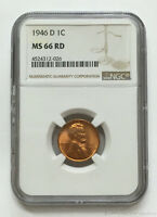 1946-D DENVER LINCOLN WHEAT CENT NGC MINT STATE 66 RED GEM BRILLIANT UNCIRCULATED