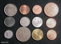 LOT OF 12 WORLD COINS FROM 12 DIFFERENT COUNTRIES ICELAND SWAZILAND SINGAPORE