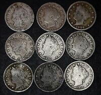 LOT OF 9 LIBERTY V NICKELS, GOOD OR BETTER, 1897, 1899, 1905 ETC. LOT 42