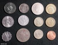 LOT OF 12 COINS FROM 12 DIFFERENT COUNTRIES TUNISIA THAILAND FRANCE BELGIUM