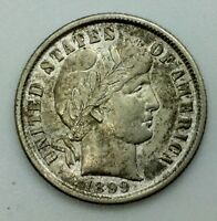 1899 P  BARBER DIME  COLLECTORS COIN PLEASING  LUSTROUS NICE