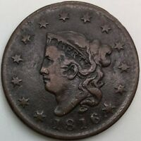 US LARGE CENT 1816 PLEASING MID GRADE COIN BETTER DATE