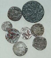 L6 LOT OF 8X MEDIEVAL  AE & AR COINS D 13 20MM