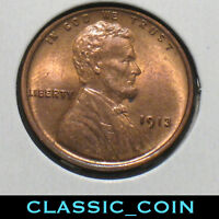 1913 LINCOLN WHEAT CENT 1C UNCIRCULATED DETAILS STILL  LUSTER FREE S/H