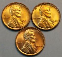 1941, 1942 & 1944 LINCOLN WHEAT CENTS CHOICE UNCIRCULATED - SHIPS FREE