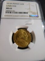 S110 FRANCE LOUIS XVIII 1814 A GOLD 20 FRANCS NGC MS 63