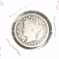 1905 LIBERTY V NICKEL 5 CENT COIN VINTAGE
