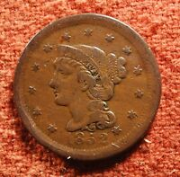 1852 US AMERICAN EXTRA FINE LIBERTY BRAIDED HEAD LARGE CENT