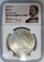 1925 SILVER PEACE DOLLAR NGC MINT STATE 63 WYATT EARP LABEL COLLECTION PEDIGREE COIN