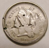 1866   3 CENT NICKEL   W/ COUNTERSTAMPS ON BOTH SIDES OF COIN: