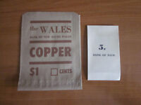 BANK OF NEW SOUTH WALES PAPER COIN BAGS  X2
