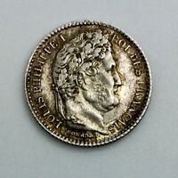 FRANCE 1845 B     ROUEN   25 CENTIMES SILVER NICE COIN