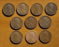 LOT OF 10 EARLY LINCOLN CENTS NO DUPLICATES 1909 1918 D 1919 S