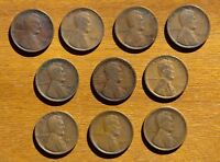 LOT OF 10 EARLY LINCOLN CENTS NO DUPLICATES 1909 1917 D 1918 PDS 1919 S