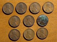 LOT OF 10 EARLY LINCOLN CENTS NO DUPLICATES 1909 1917 D 1919 S