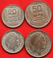 ALGERIA LOT 2 : 20   50 FRANCS 1949  NICE FRENCH COLONIAL COINS KM 91   92