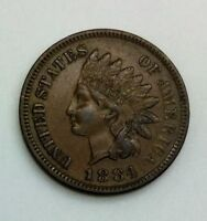 1884 INDIAN HEAD NICE EXAMPLE 3 DIAMONDS EVEN BROWN SHARP COIN