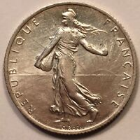 1901 FRANCE 2 FRANCS SEMEUSE. KM 845.1 SILVER LUSTER WITH GOLDEN TONING. AU.