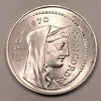 1970 ITALY 1000 LIRE CENTENNIAL OF ROME AS CAPITAL OF ITALY SILVER COIN KM 101