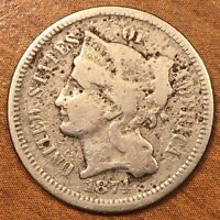 1874 THREE CENT NICKEL PIECE. U S 3 CENT COIN. FINE CONDITION. CLASSIC. NICE.