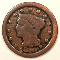 1850 U.S. BRAIDED HAIR LIBERTY HEAD LARGE CENT. EARLY LARGE COPPER PENNY.