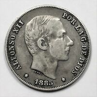 1885 PHILIPPINES 20 CENTIMOS SILVER SPANISH COLONY ALFONSO XII KM 149 XF