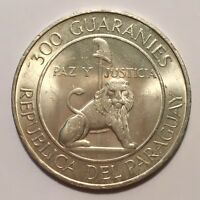 1973 PARAGUAY 300 GUARANIES SILVER STROESSNER 1968 1973 GOLDEN TONING UNC.