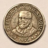1935 NICARAGUA 10 CENTAVOS SILVER 250 000 MINTAGE TONED KM13