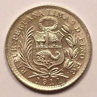 1911 FG PERU 1/2 DINERO SILVER SEATED LIBERTY 460K MINTAGE TONED KM 206.2