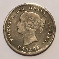 1891 CANADA 5 CENTS COIN SILVER QUEEN VICTORIA CLASSIC AVG