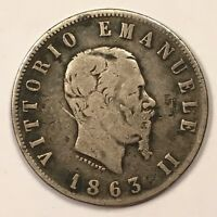 1863 N BN ITALY 2 LIRE COIN .835 SILVER NAPLES MINT EMANUELE II KM 6A.1 VG