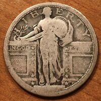 1917 U.S. STANDING LIBERTY QUARTER. TYPE 1. 90  SILVER.  SILVER 25C COIN.