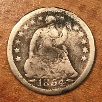 1854 U.S. SEATED LIBERTY HALF DIME. 90  SILVER. BETTER DATE  TYPE COIN. BENT
